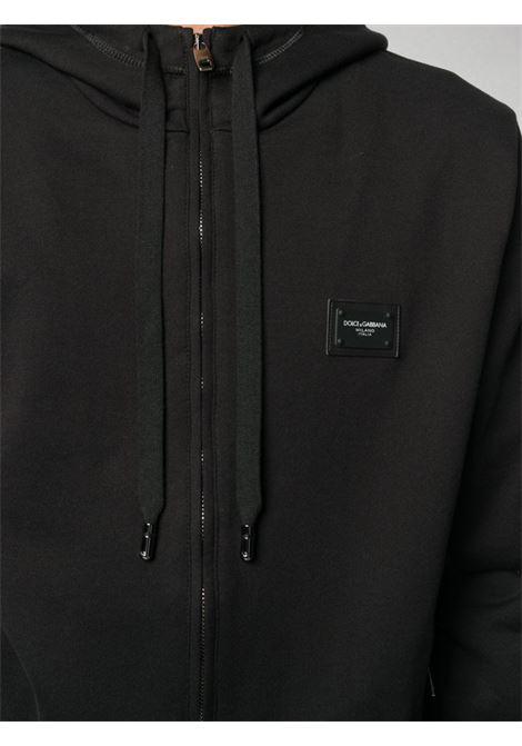 Felpa con zip eappuccio in cotone nero DOLCE & GABBANA | Felpe | G9PD2T-FU7DUN0000
