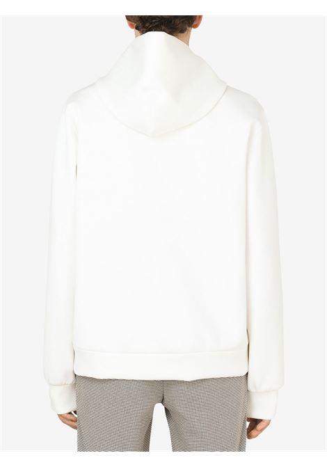 felpa bianca con scollo a V con patch Dolce & Gabbana DOLCE & GABBANA | Felpe | G9UN9Z-FUGK6W0001