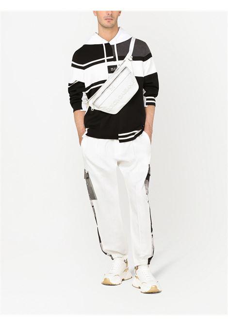 Felpa con cappuccio con pannelli asimmetrici bianco e nero DOLCE & GABBANA | Felpe | GXE37Z-JBML8S9000