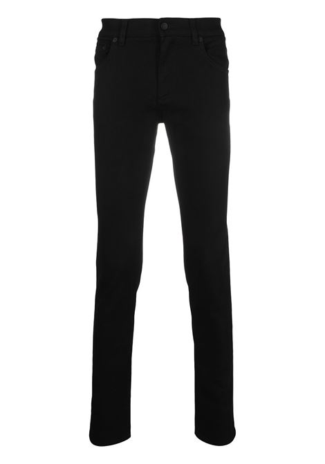 Black stretch cotton skinny jeans featuring Dolce & Gabbana logo-embossed patch  DOLCE & GABBANA |  | GY07LZ-G8DK3S9001