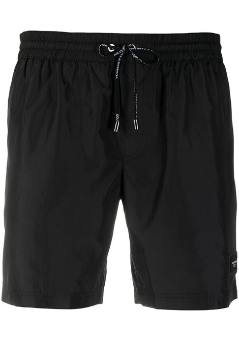 costume da bagno neri con patch logo Dolce & Gabbana DOLCE & GABBANA | Costumi | M4B12T-FUSFWN0000