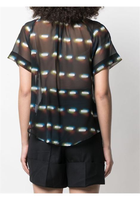 Black and blue silk abstract print blouse DRIES VAN NOTEN |  | CHEN-2088-10767900