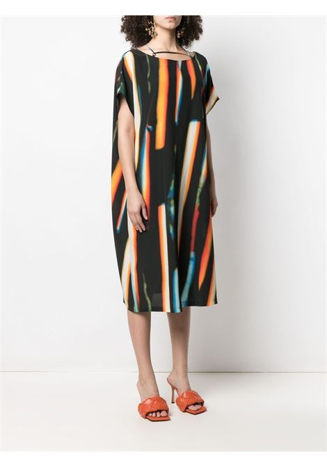 Black and orange silk abstract print shift dress  DRIES VAN NOTEN |  | DARTEY-2087-11036353