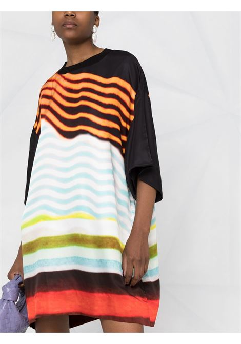 Blue distorted stripe print dress  DRIES VAN NOTEN |  | DEKKO-2092-11051514