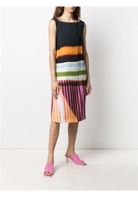 Multicolour cotton stripe-print detail dress featuring  open back DRIES VAN NOTEN |  | DOBSON-2048-11071900