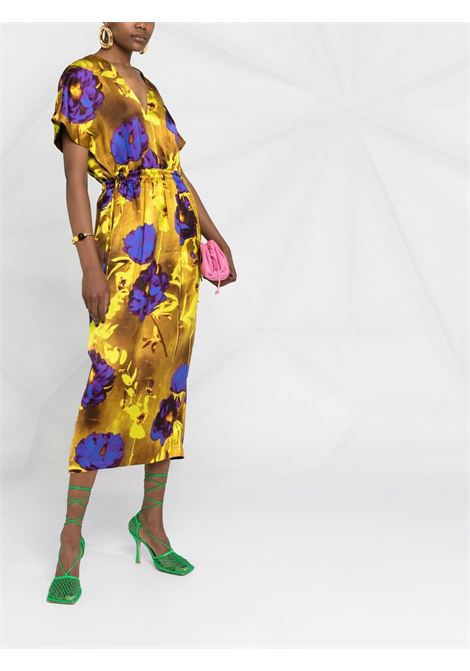Yellow silk floral-print drawstring-waist dress  DRIES VAN NOTEN |  | DORIAS-2089-11088202