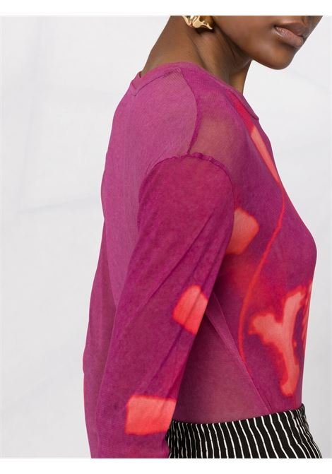 Pink sheer printed top featuring graphic print DRIES VAN NOTEN |  | HACK-11101-2082305
