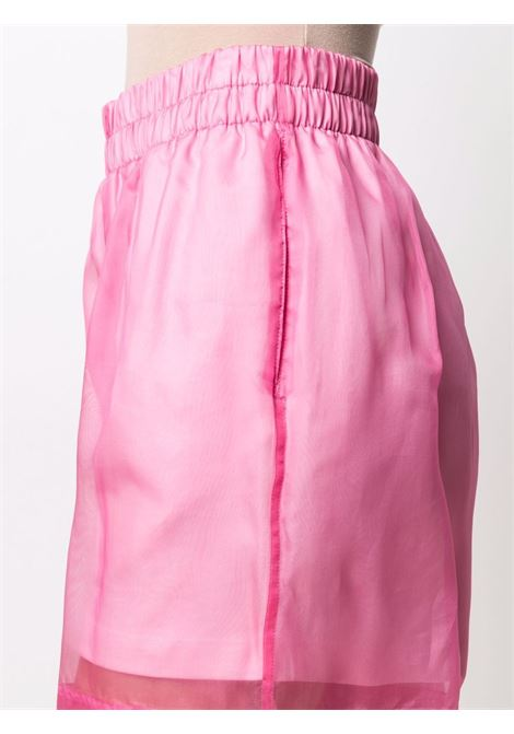 Shocking pink silk-cotton blend Hanar sheer overlay shorts DRIES VAN NOTEN |  | HANAR BIS-11121-2626304