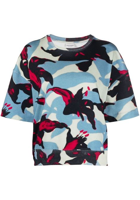 Blue,black and red cotton Heloovi graphic-print T-shirt  DRIES VAN NOTEN |  | HELOOVI PR-2630-11162562