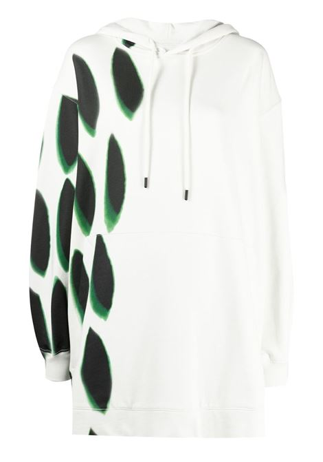 White cotton oversized hoodie featuring green polka dot print DRIES VAN NOTEN |  | HESPER PR-2631-11179001
