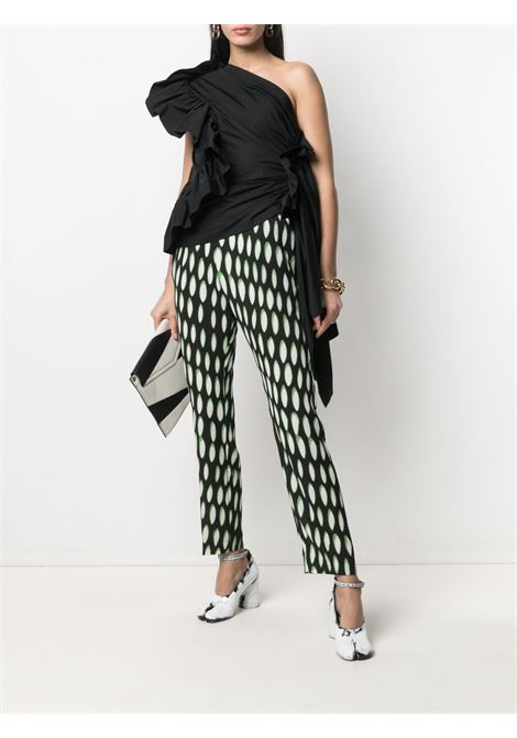 Black and green silk abstract-print silk trousers   DRIES VAN NOTEN |  | PALMIRA-2010-10909900