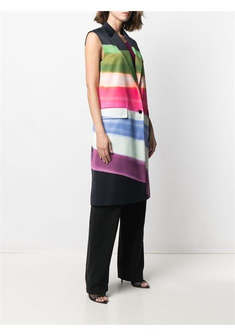 Cappotto midi multicolore Ranch senza maniche con stampa color-block DRIES VAN NOTEN | Cappotti | RANCH-2047-10210900