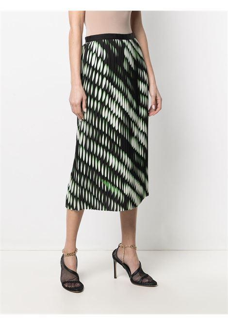 Gonna plissettata con stampa geometrica nera e verde fluo Sarea DRIES VAN NOTEN | Gonne | SAREAN BIS-2010-10820900