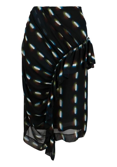 Black silk ruched-detail skirt featuring graphic print DRIES VAN NOTEN |  | SYVAN-2088-10885900