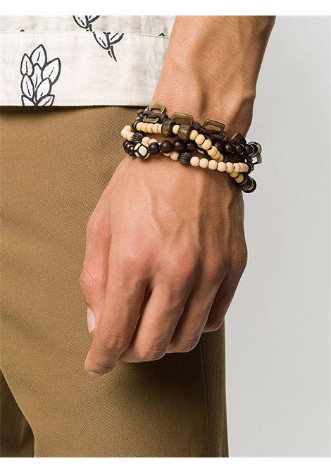 Braccialetto marrone e beige con ciondoli in ottone e vetro ELEVENTY | Accessori | A80BRAA01-ACC0A00522