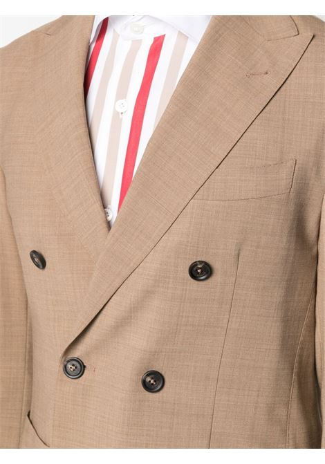 Camel-brown stretch-wool blend peak-lapels double-breasted suit  ELEVENTY |  | C70ABUB01-TES0A05304