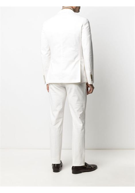 stretch-cotton peak-lapels double-breasted white suit   ELEVENTY |  | C70ABUB01-TET0C03100