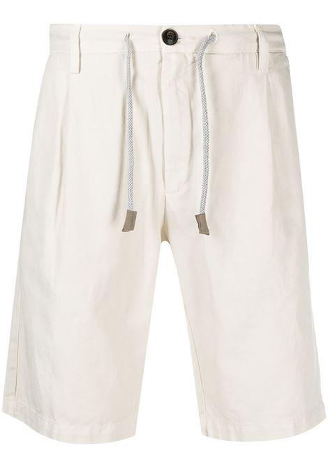 bermuda in lino e cotone bianco off white con coulisse in vita con pieghe ELEVENTY | Bermuda | C70BERC01-TET0C02902