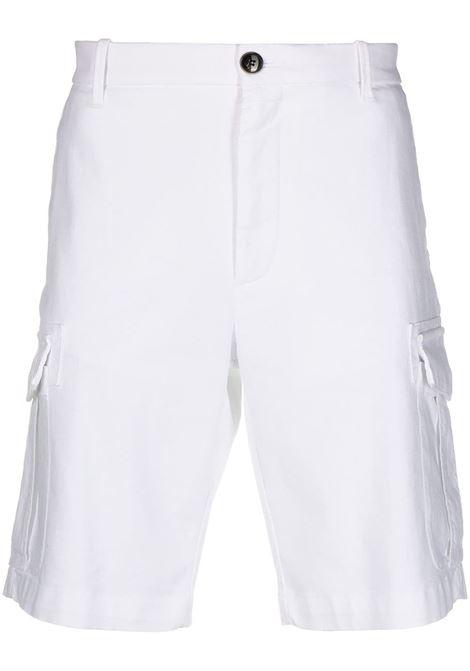 pantaloncini cargo in cotone bianco con cintura in vita ELEVENTY | Bermuda | C70BERC02-TET0C02800