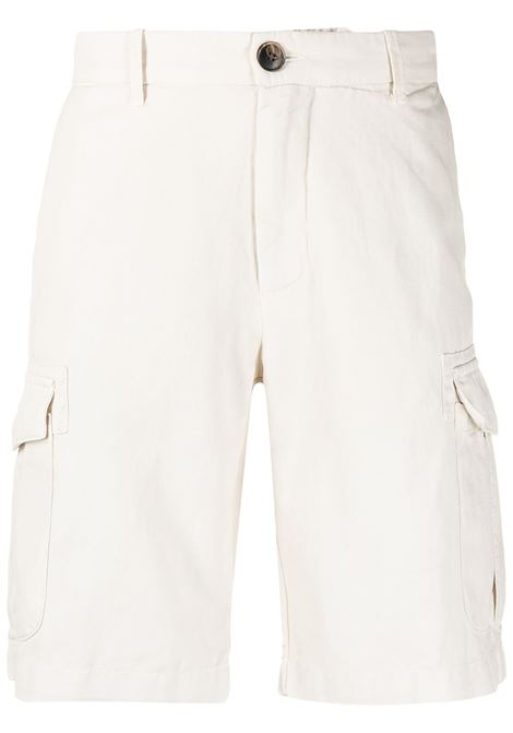 White linen and cotton mid-rise chino shorts  ELEVENTY |  | C70BERC02-TET0C02902