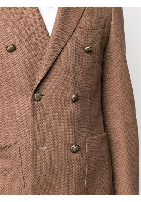 Brown cotton double-breasted blazer featuring notched lapels ELEVENTY |  | C70GIAA06-TES0C09204