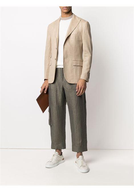 Beige tailored linen blazer featuring peak lapels ELEVENTY |  | C70GIAB04-TES0C11704