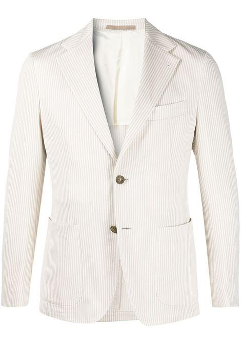 Blazer in cotone bianco e beige con motivo a righe verticali ELEVENTY | Giacche | C70GIAC01-TES0C11602