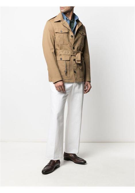 Giacca multitasche con cintura in cotone elasticizzato color cammello ELEVENTY | Giacche | C70GIAC04-TES0C13104