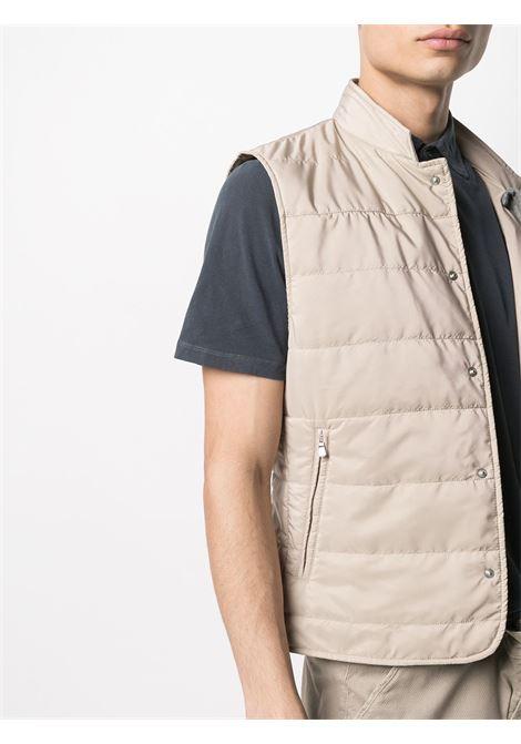 Gilet beige con cappuccio e chiusura con bottoni a pressione ELEVENTY | Gilet | C70GILC01-TES0C19202
