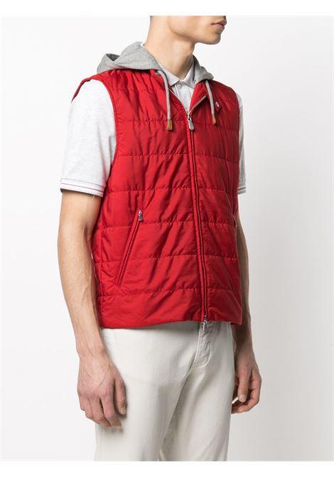 Gilet imbottito con cappuccio staccabile rosso e grigio ELEVENTY | Gilet | C70GILC03-TES0C19218