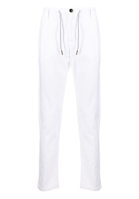 Daisy-white stretch-cotton box-pleat slim-fit trousers  ELEVENTY |  | C70PANC01-TET0C02800