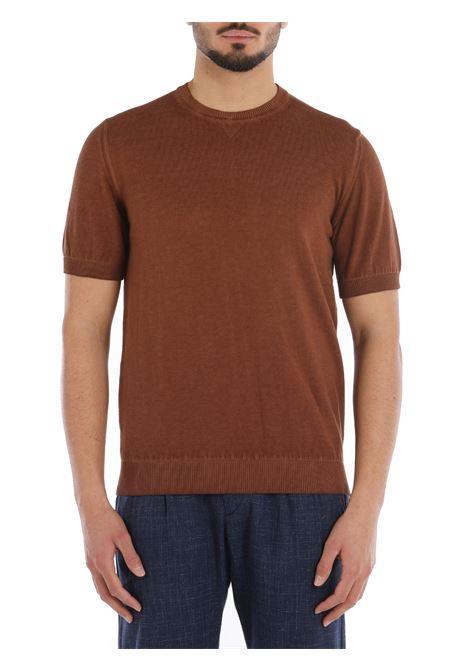 T-shirt in maglia a maniche corte in cotone color cammello con bordo a costine ELEVENTY | Maglieria | C71MAGC04-MAT0C00204