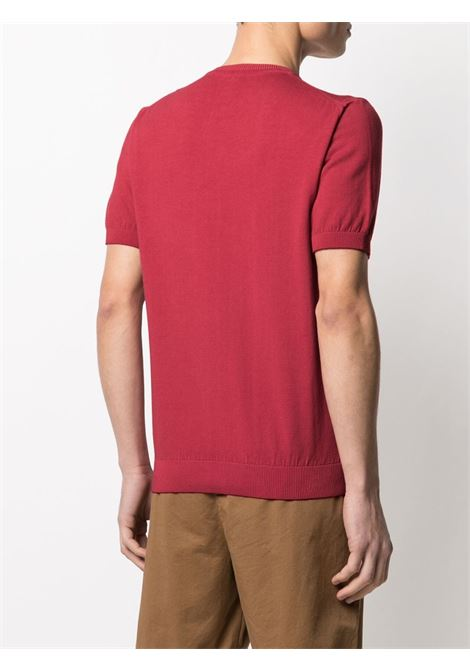 T-shirt in maglia a maniche corte in cotone rosso lampone ELEVENTY | Maglieria | C71MAGC04-MAT0C00218