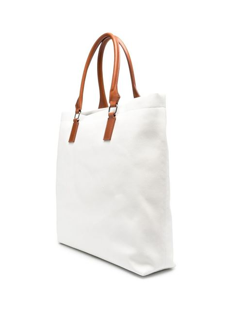 Borsa tote in cotone bianco con dettagli in pelle marrone a contrasto ELEVENTY   Borse a tracolla   C72BORC02-TES0C01601