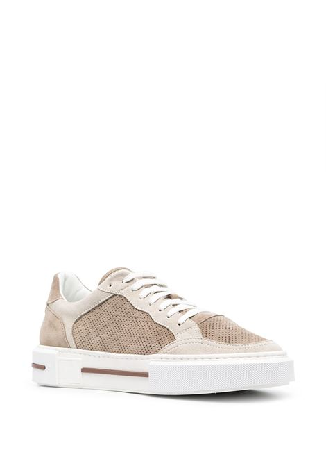 Beige suede and leather low-top sneakers featuring panelled design ELEVENTY |  | C72SCNC12-SCA0C02502