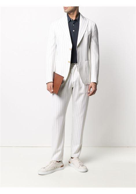 Abito monopetto in lana vergine bianca con motivo gessato ELEVENTY | Abiti | C75ABUC10-TES0C08201