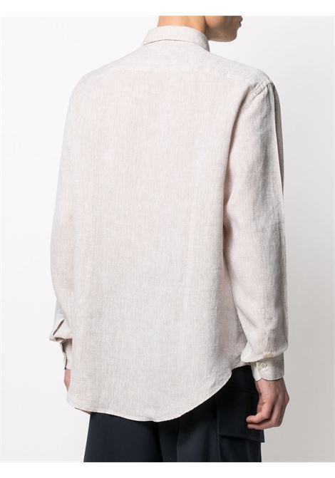 Neutral linen long-sleeve shirt featuring classic collar ELEVENTY |  | C75CAMA05-TES0A00102