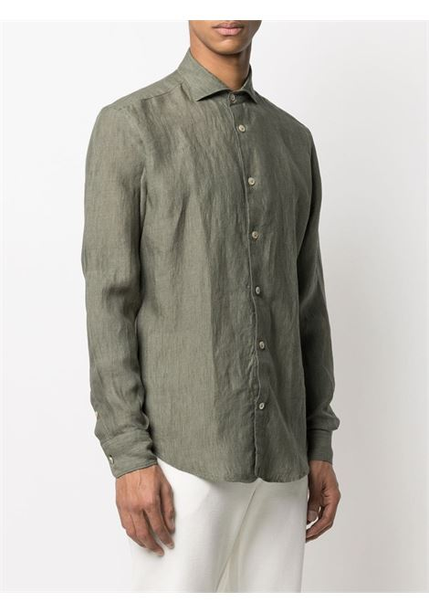 Green linen button-down shirt featuring classic collar ELEVENTY |  | C75CAMA05-TES0A00107