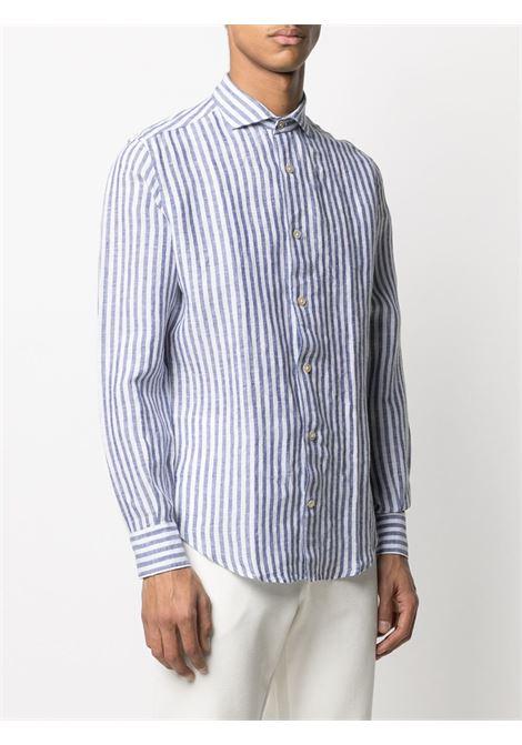 Camicia a righe in lino blu e bianco con collo alla francese ELEVENTY | Camicie | C75CAMA05-TES0C02611