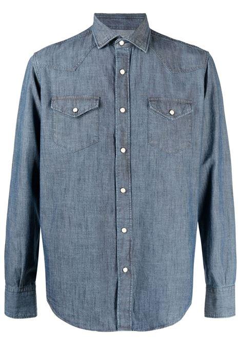 Camicia in denim di cotone blu medio a manica lunga ELEVENTY | Camicie | C75CAMA09-TES0A16008