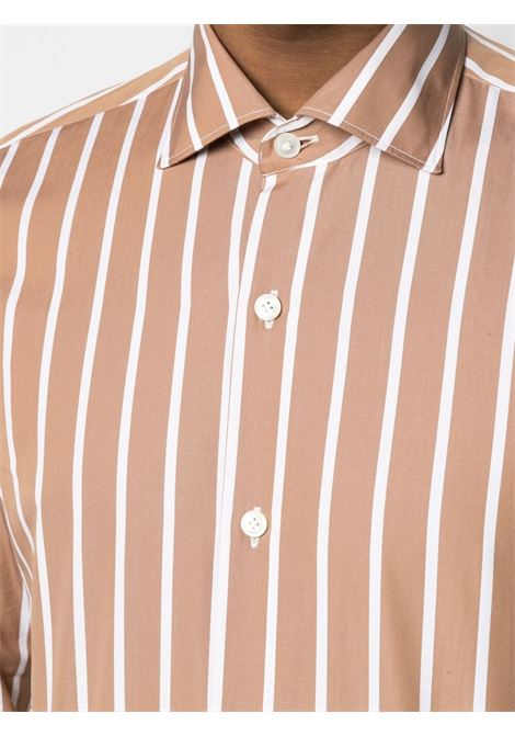 Camel-brown and white cotton stripe-print shirt   ELEVENTY |  | C75CAMA18-TES0C06704