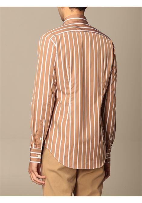 Camicia a righe verticali in cotone color cammello e bianco ELEVENTY | Camicie | C75CAMA18-TES0C06704