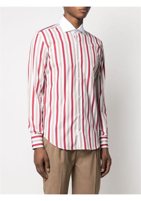 White,beige and red vertical stripe-print cotton shirt  ELEVENTY |  | C75CAMA19-TES0C06318