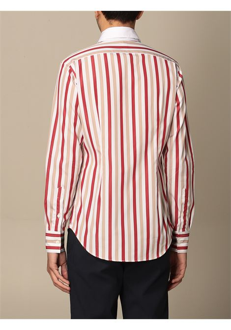 White,beige and red vertical stripe-print cotton shirt  ELEVENTY |  | C75CAMA19-TES0C06318