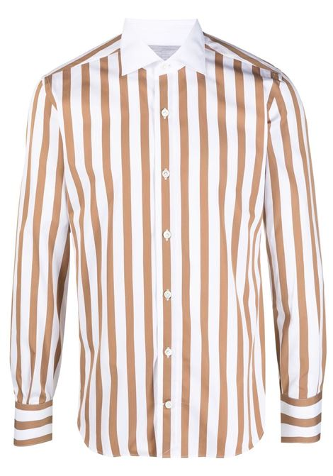 White and camel-brown vertical striped long-sleeved shirt  ELEVENTY |  | C75CAMA19-TES0C06605