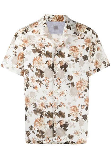 White cotton and linen brown floral print shirt   ELEVENTY |  | C75CAMA26-TES0C06801