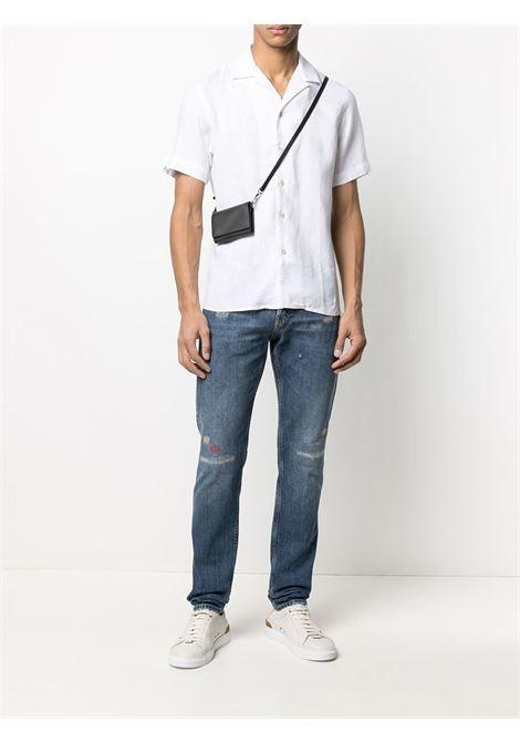 Camicia a maniche corte in lino bianco con colletto classico ELEVENTY | Camicie | C75CAMC07-TES0A00101