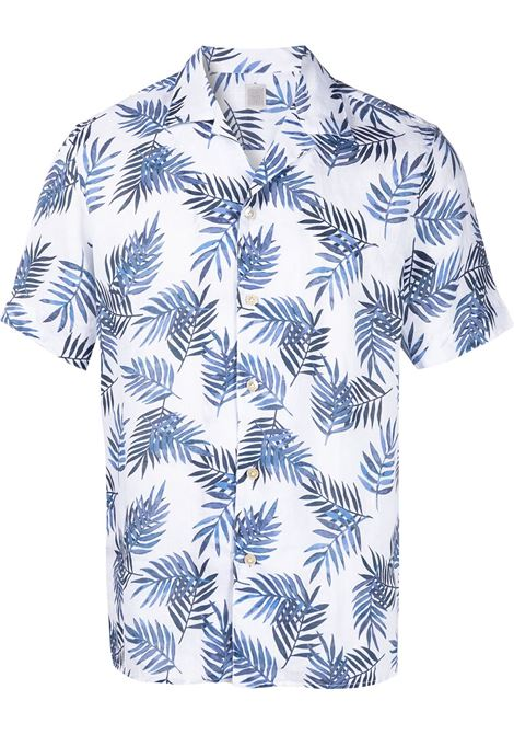 White and blue linen palm leaf print shirt   ELEVENTY |  | C75CAMC07-TES0C02711