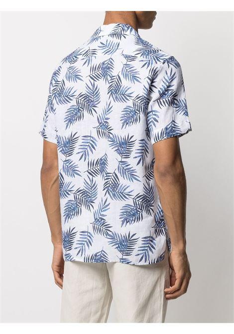 Camicia bianca e blu in lino stampata con foglie di palma ELEVENTY | Camicie | C75CAMC07-TES0C02711