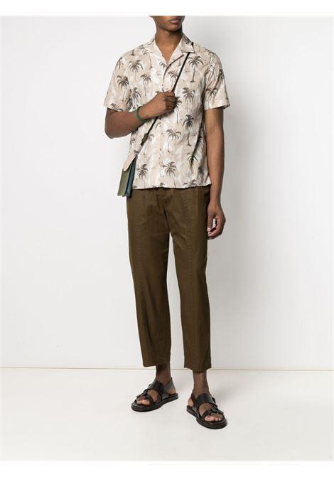 Beige and white cotton palm tree-print shirt  ELEVENTY |  | C75CAMC07-TES0C03702